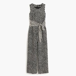 Petite Tie-front jumpsuit in pebble print P2